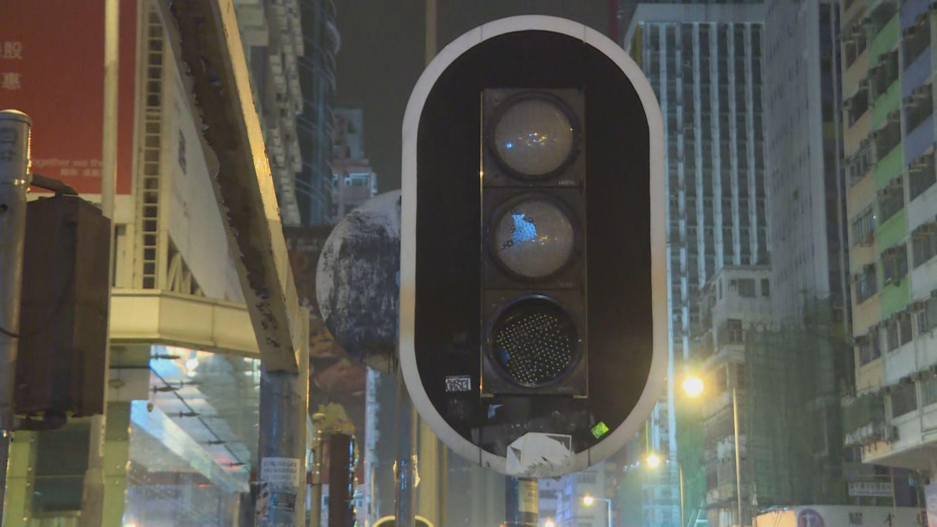 旺角衝突後 彌敦道有交通燈損壞
