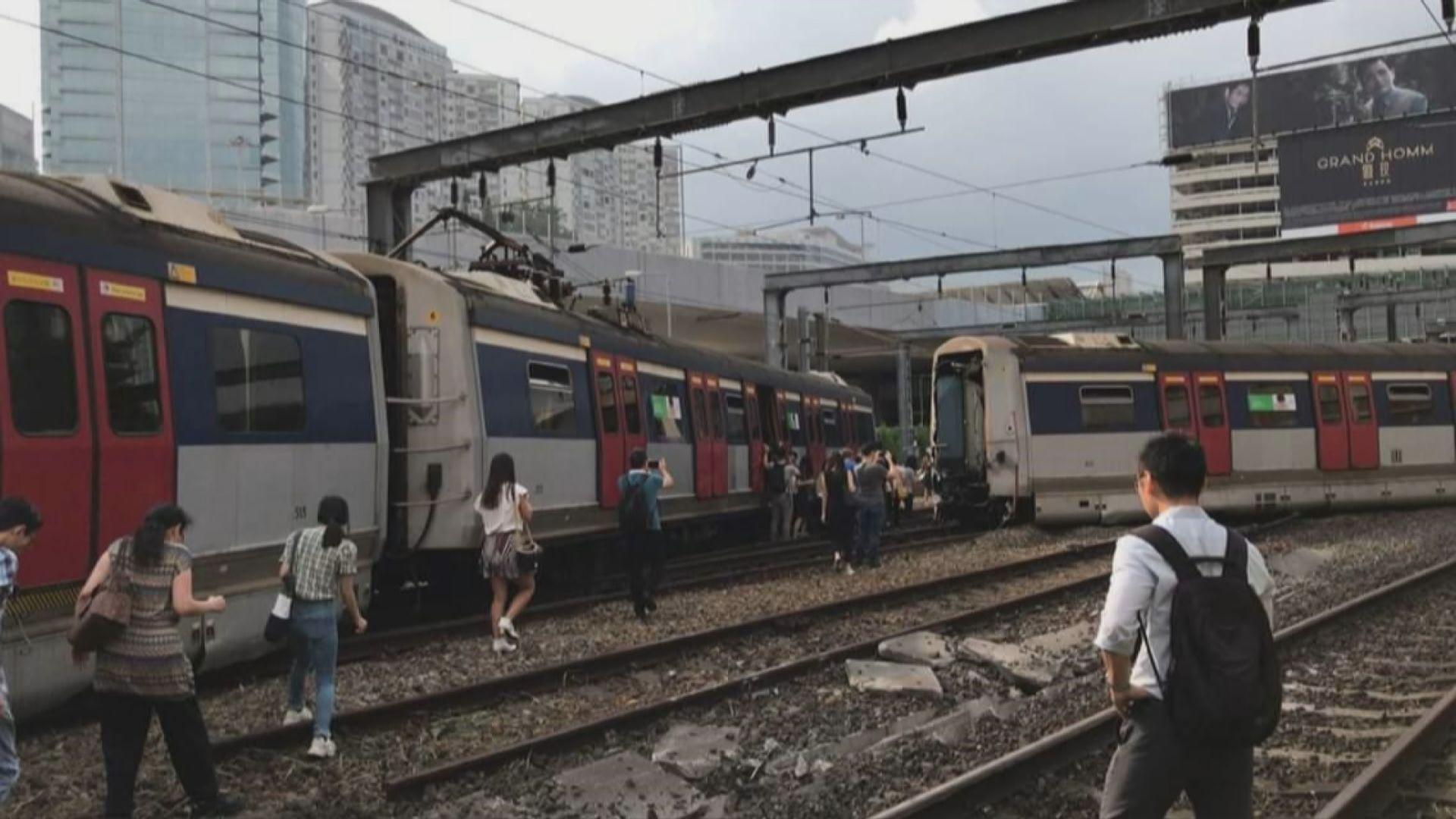 紅磡列車出軌 乘客要落車在路軌上行走