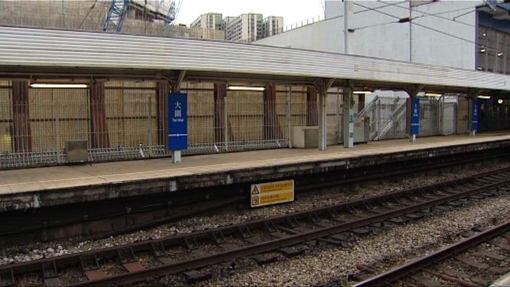 港鐵大圍站月台及電纜杆沉降 發展商停工