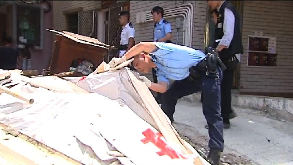 田心村謀殺案 警方到現場搜尋兇器及證物