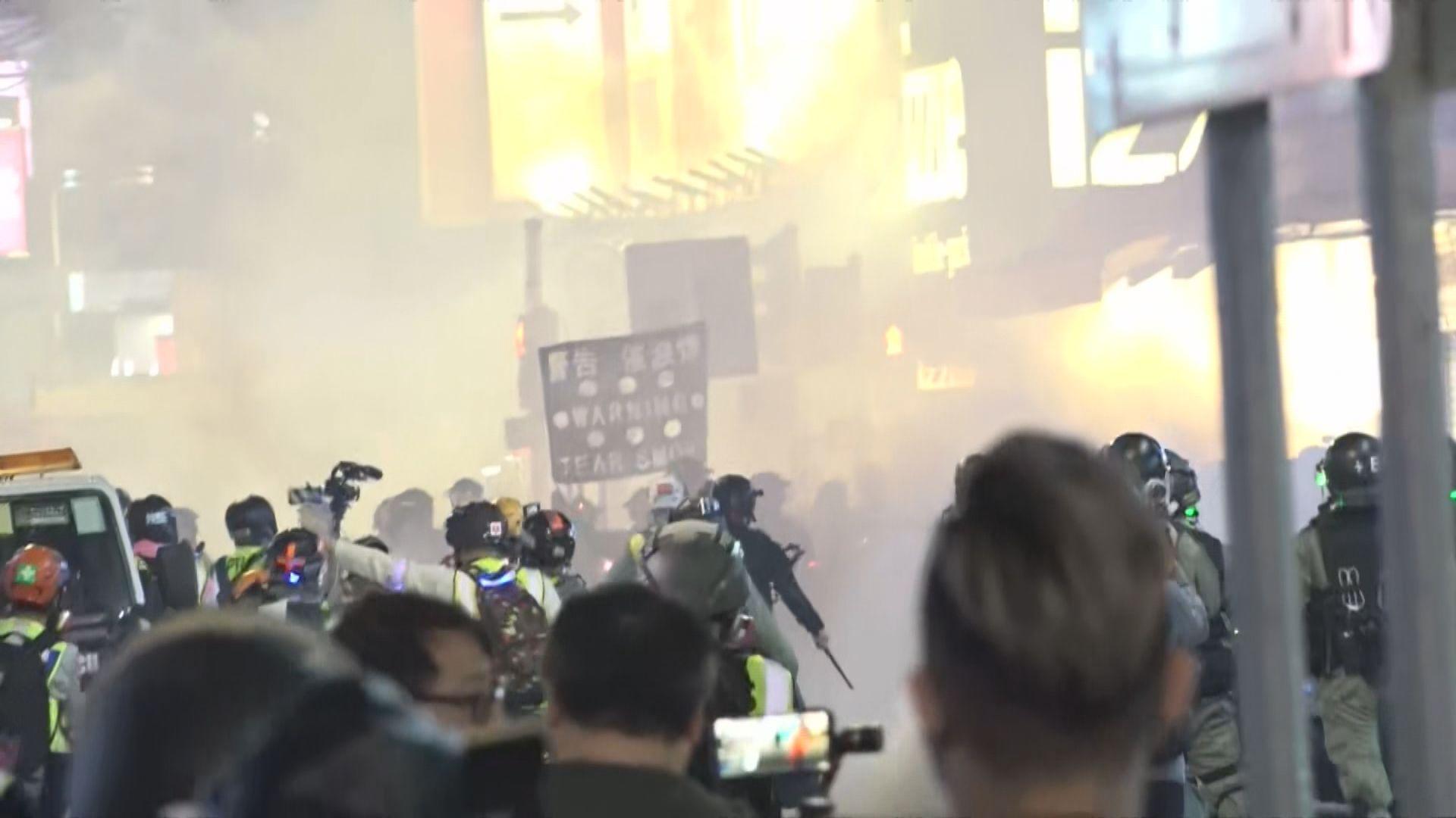 旺角晚上有人聚集 警施放胡椒噴霧及催淚彈驅散