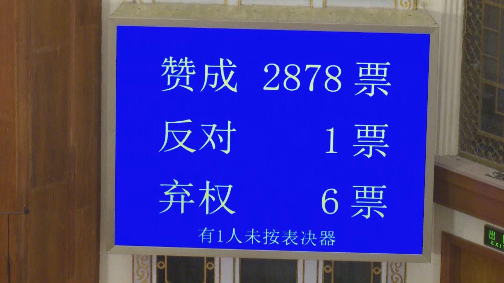全國人大高票通過建立港區國安法決定草案