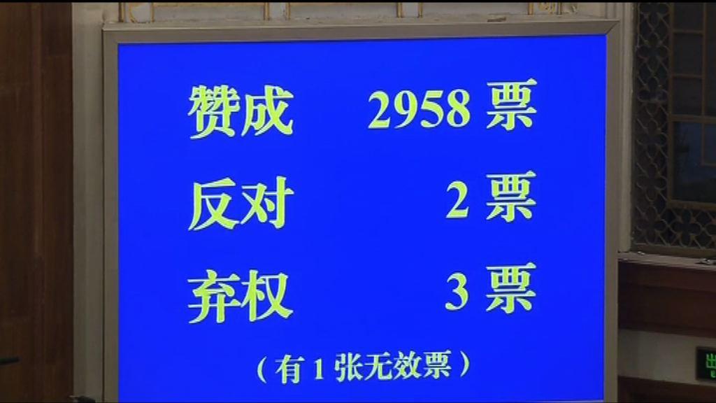 全國人大表決通過憲法修正草案