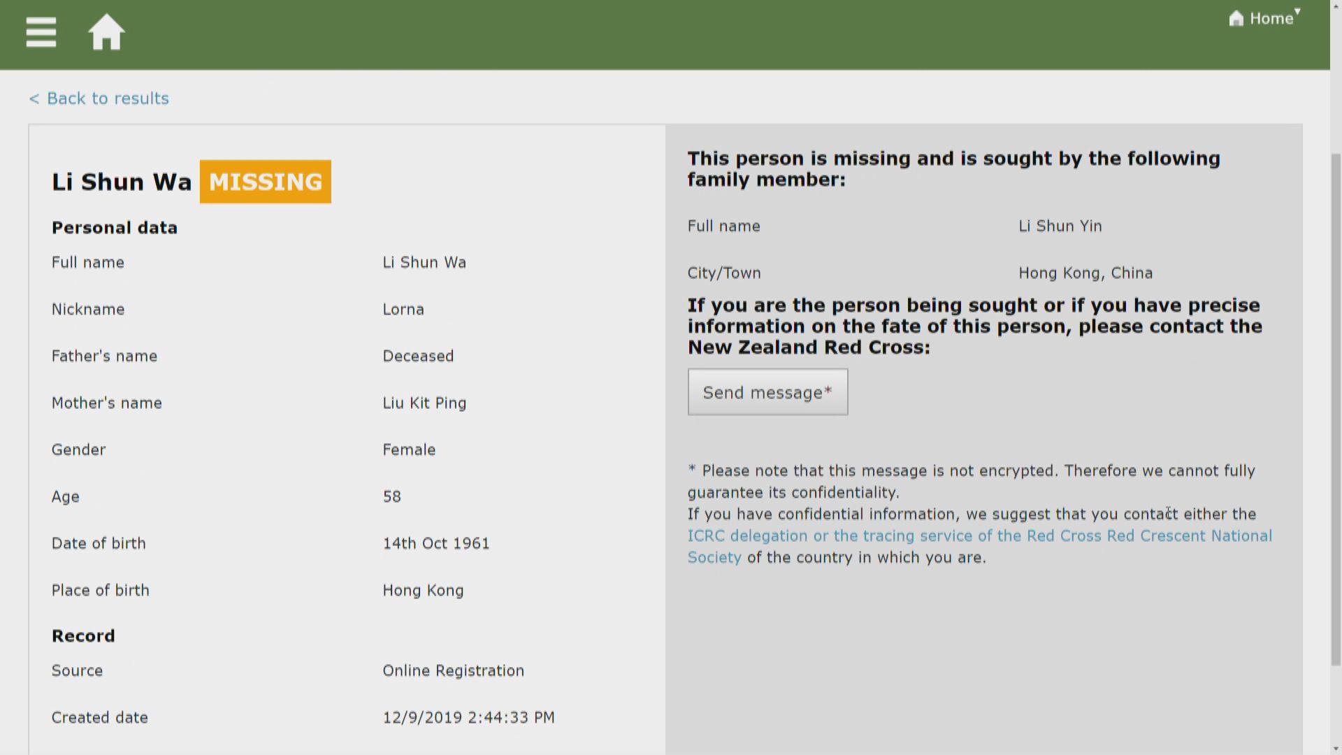 新西蘭紅十字會:一男一女港人失聯