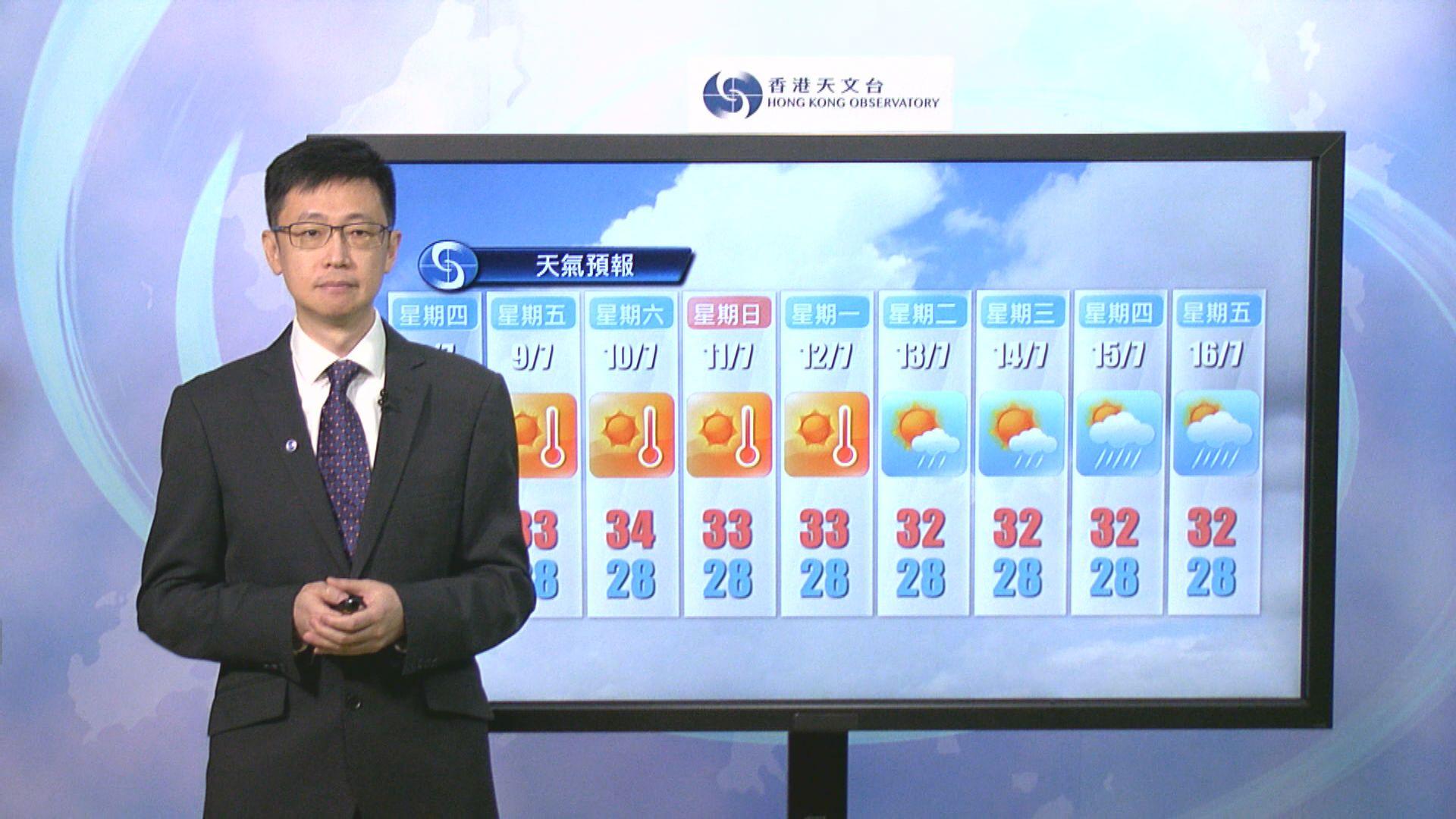 熱帶低氣壓已登陸海南島 本港仍有幾陣雨