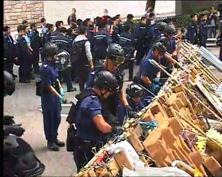 警方開始清理金鐘佔領區