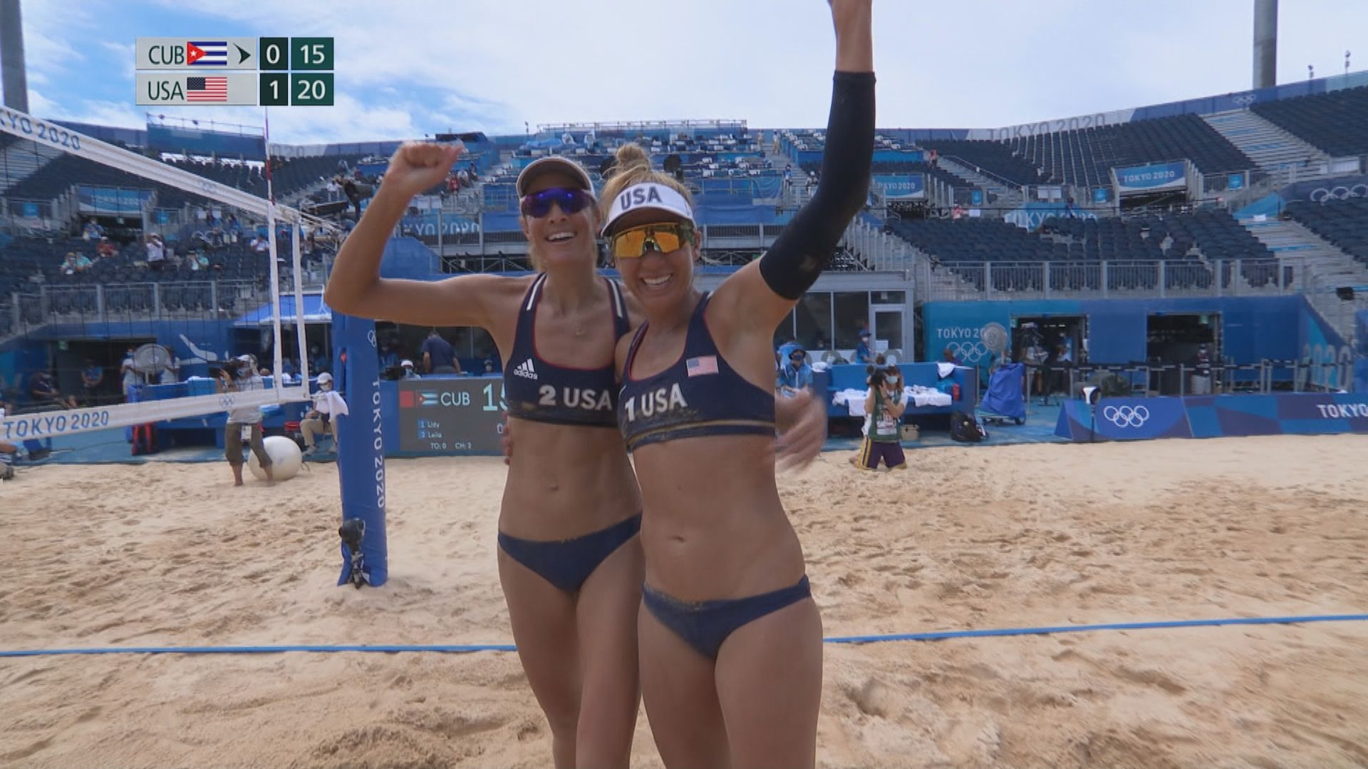 女子沙灘排球 美國2:0古巴