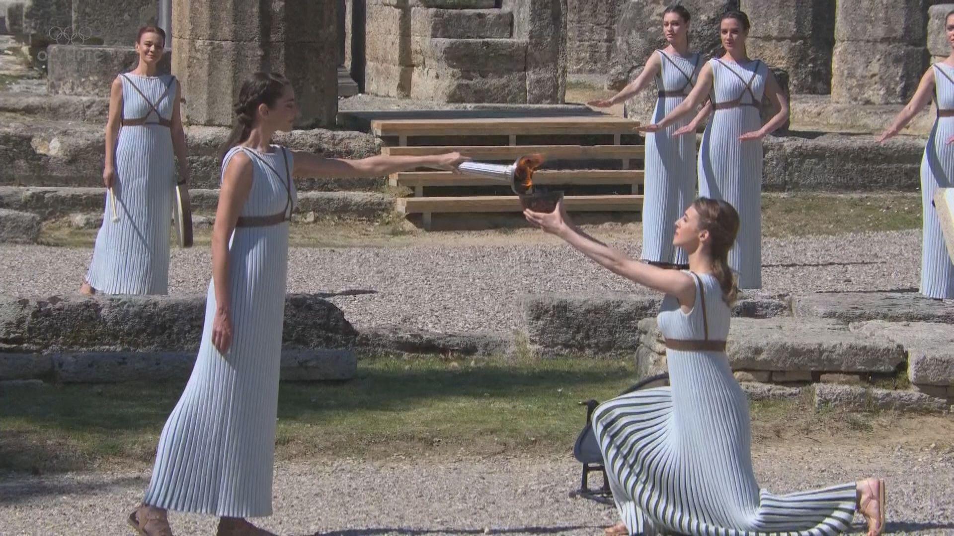 希臘舉行東京奧運聖火採集儀式
