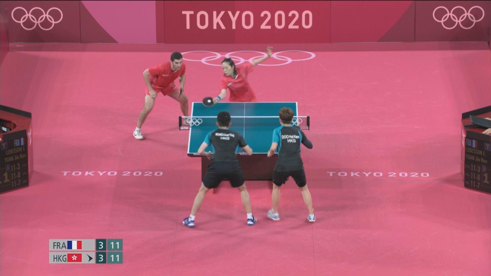 港隊「黃杜配」乒乓球混雙八強止步