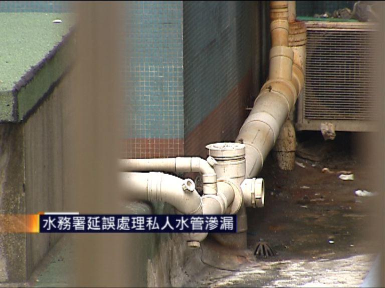水務署延誤處理私人水管滲漏