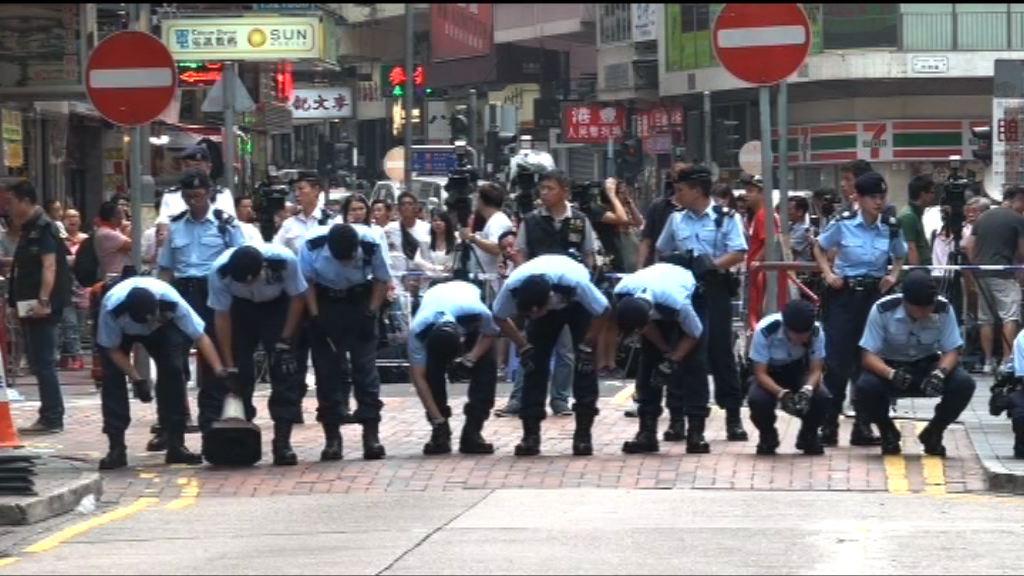 油麻地傷人案 大批藍帽子到場搜證
