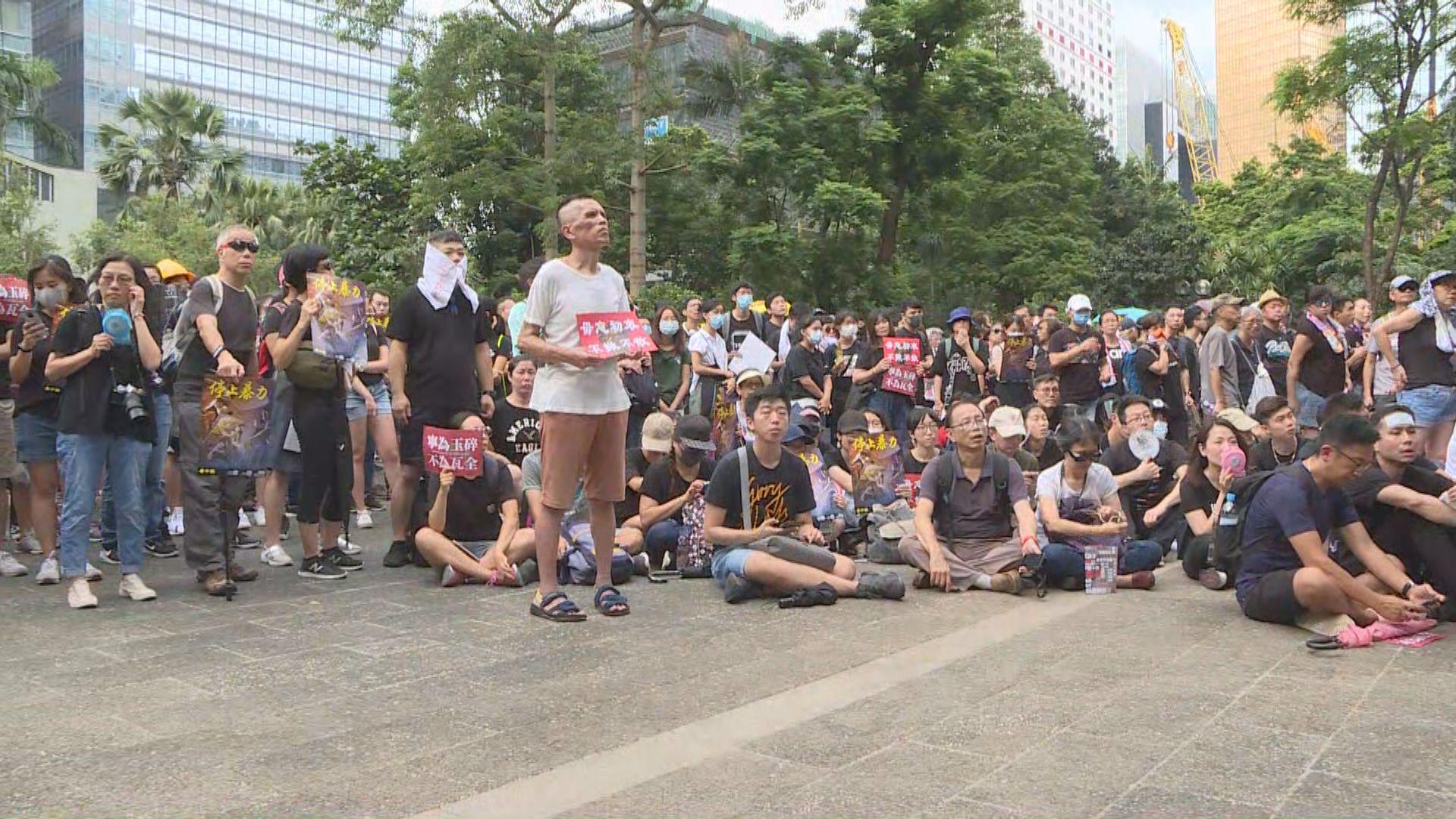中環遮打花園集會抗議警方近日的執法方式