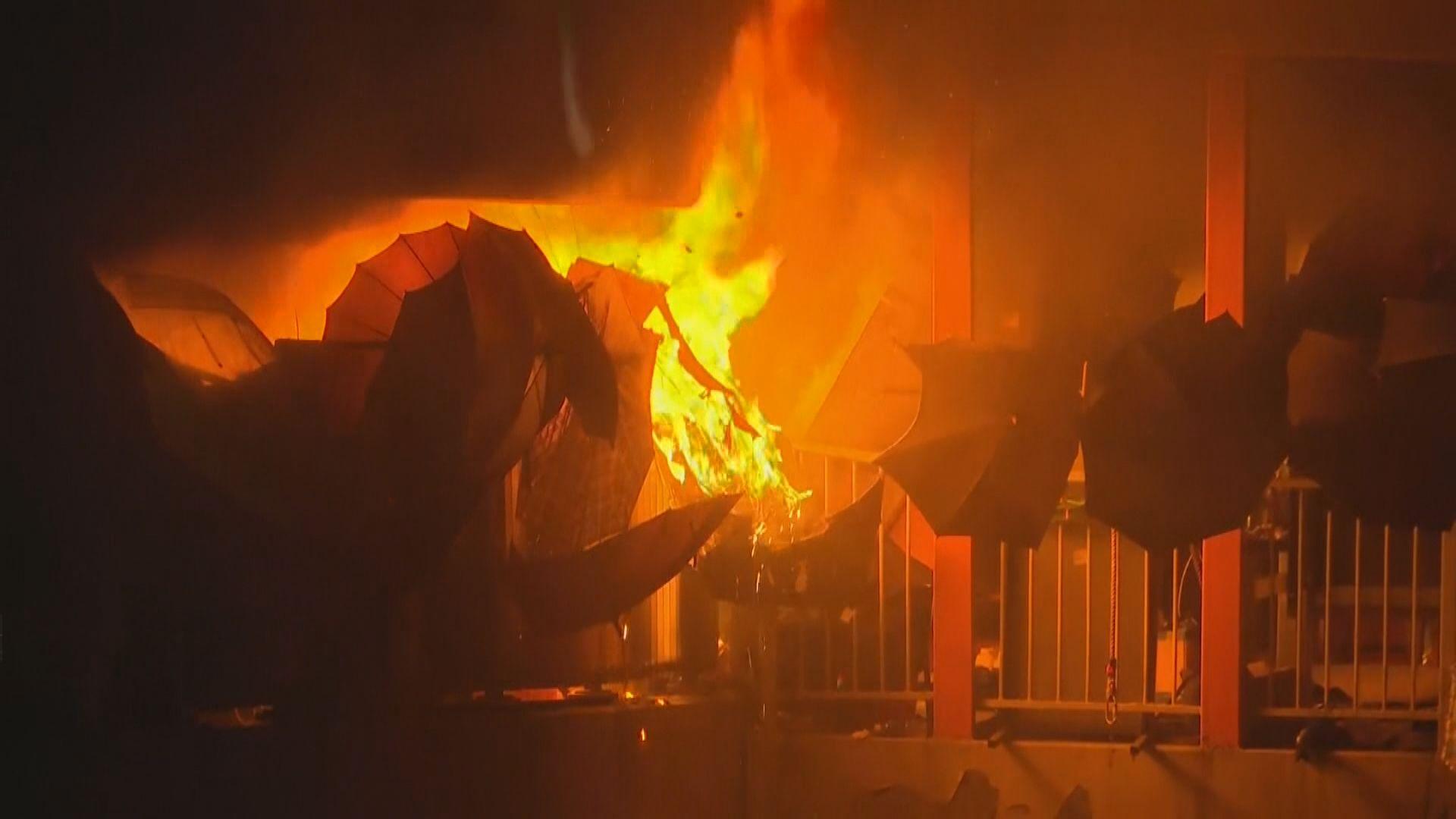 紅磡站通往理大天橋被縱火