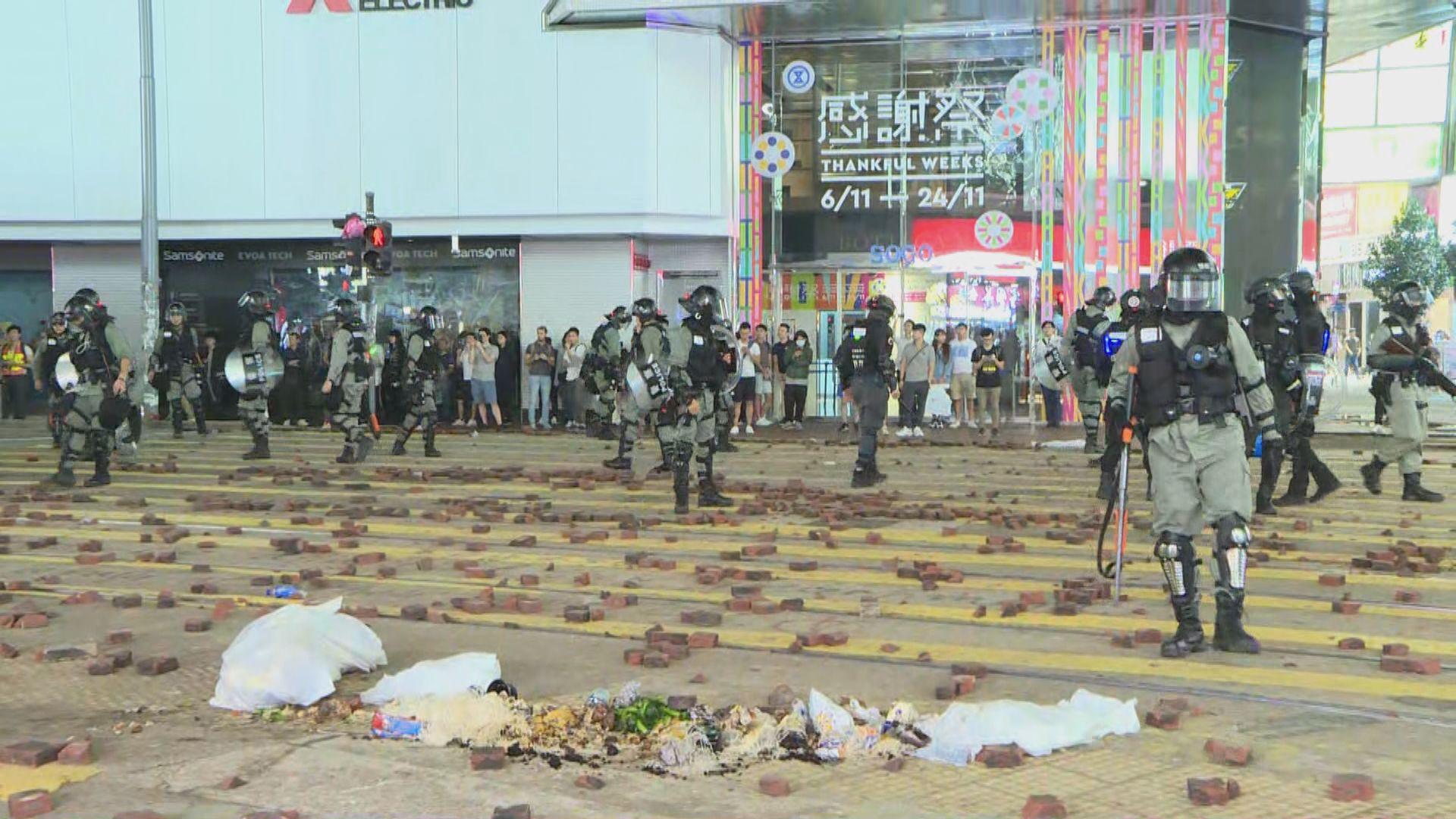 警方晚上中環和銅鑼灣作出驅散和清理路障