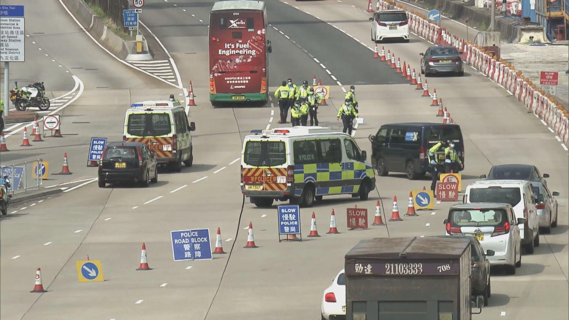 警方紅隧及西隧出口設置路障 截查車輛