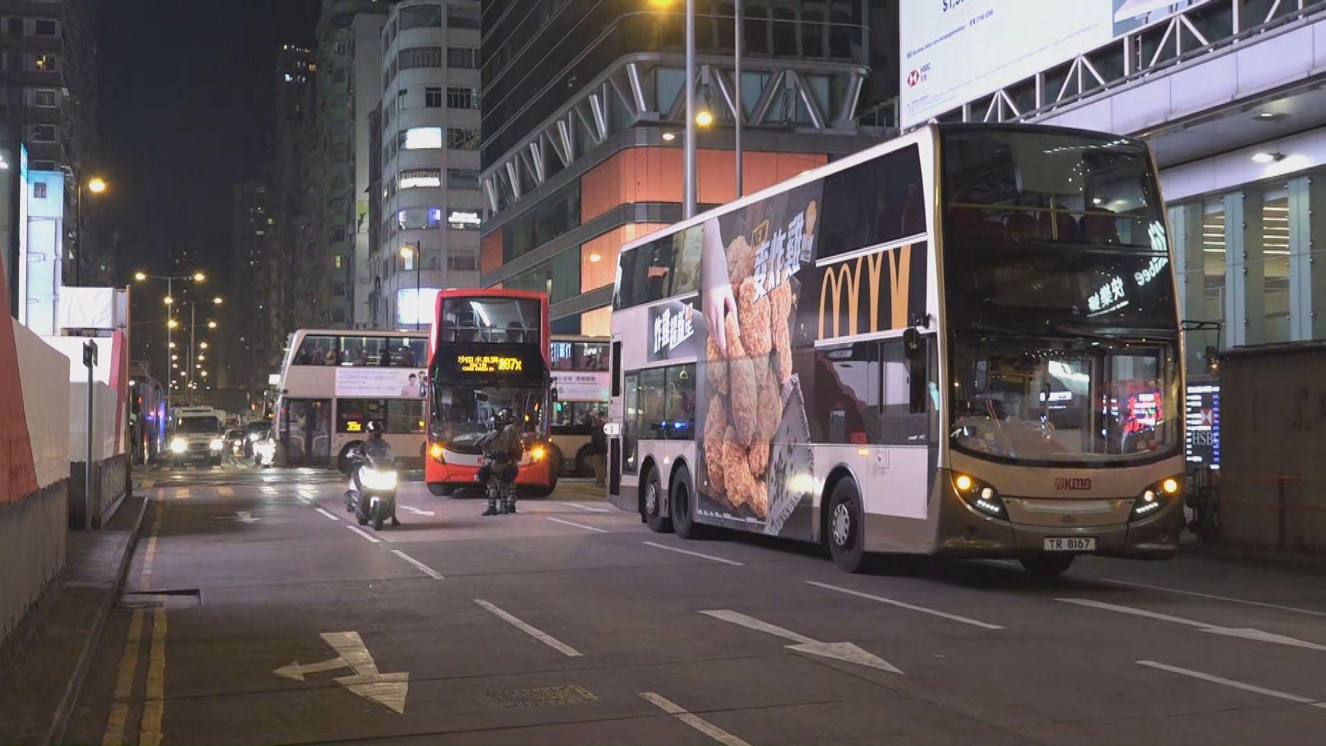 旺角有巴士遭按動緊急死火掣