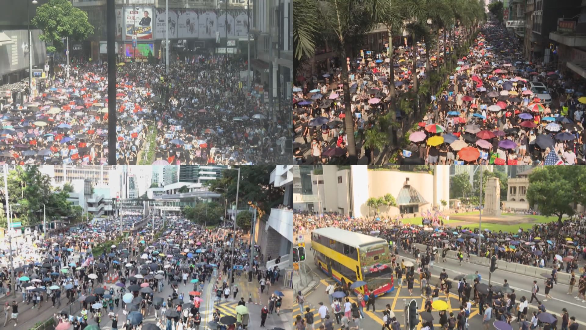 市民按民陣遊行路線銅鑼灣起步行