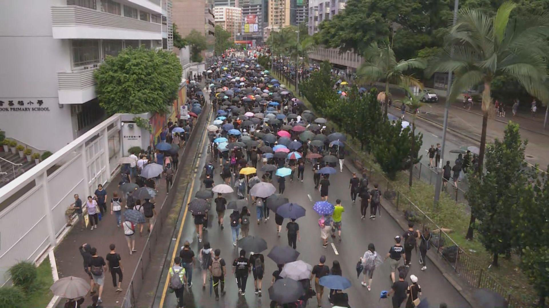 九龍遊行 旺角九龍塘深水埗一帶道路被堵塞