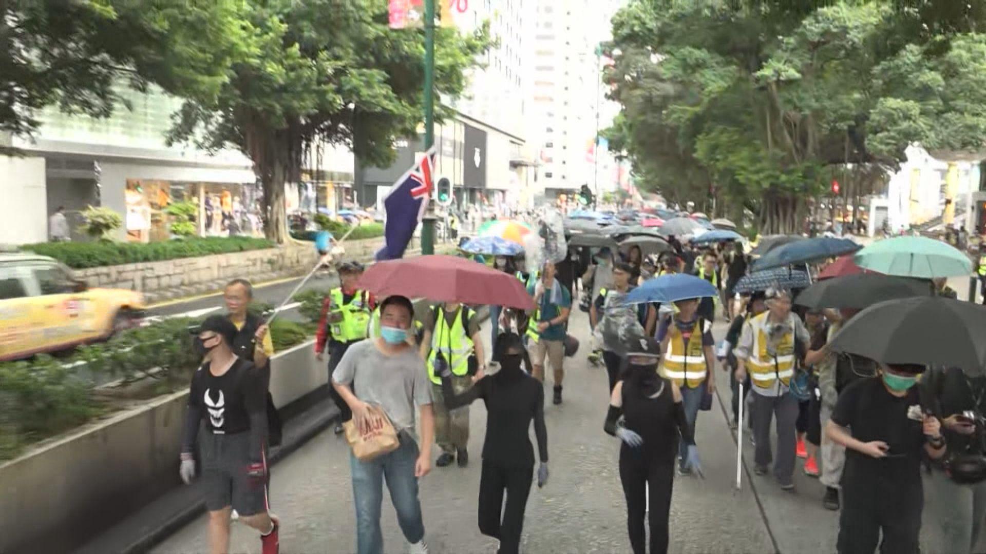 尖沙咀遊行 彌敦道部分行車線被佔據