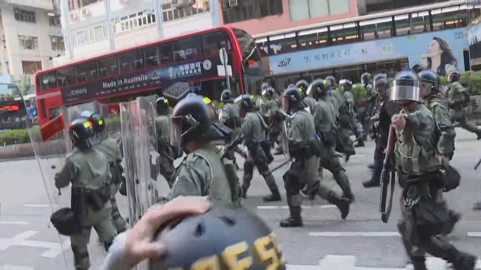 網民發起反緊急法遊行 防暴警多個路口戒備