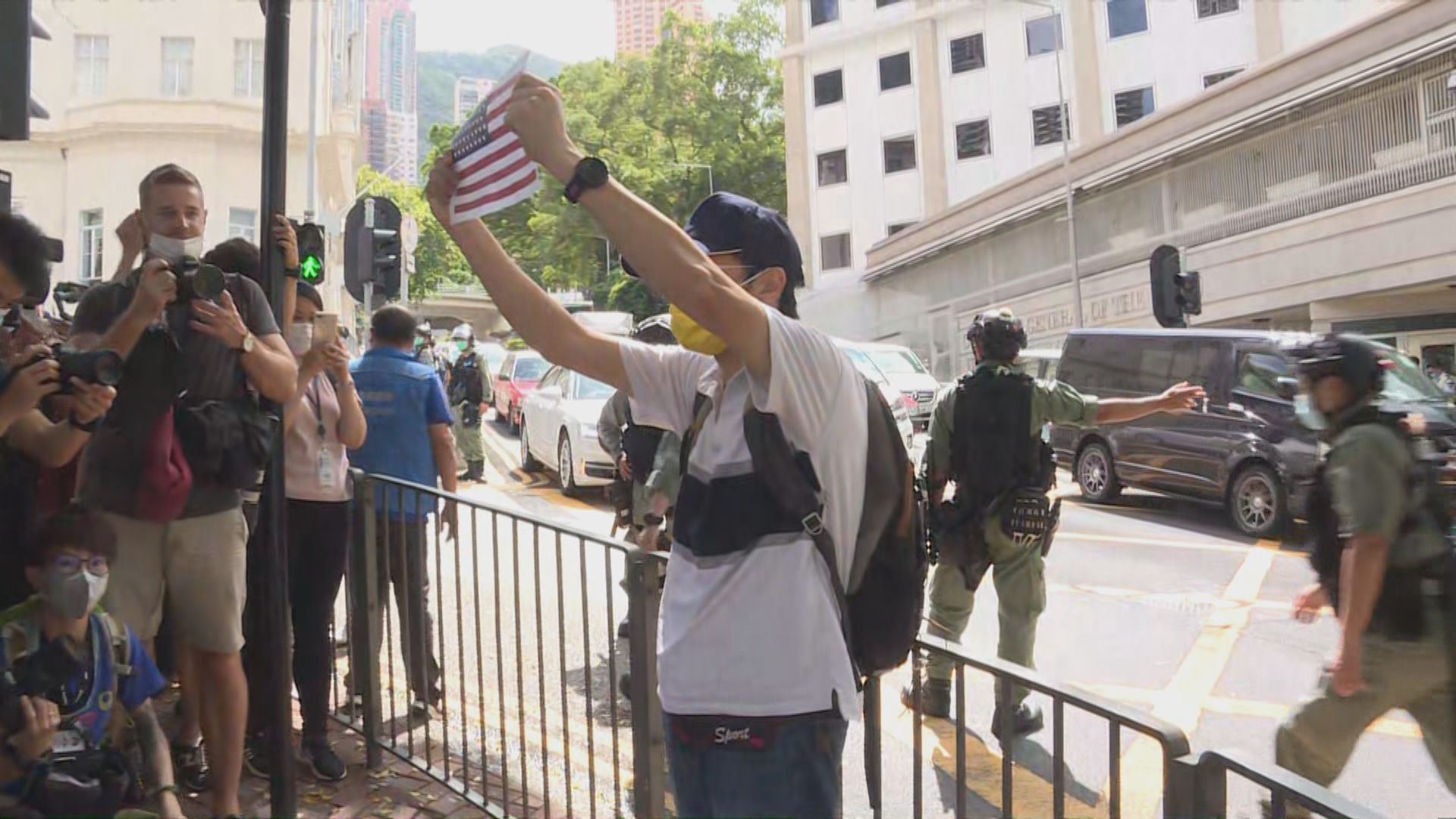 網民發起到美國駐港總領事館集會 警員戒備