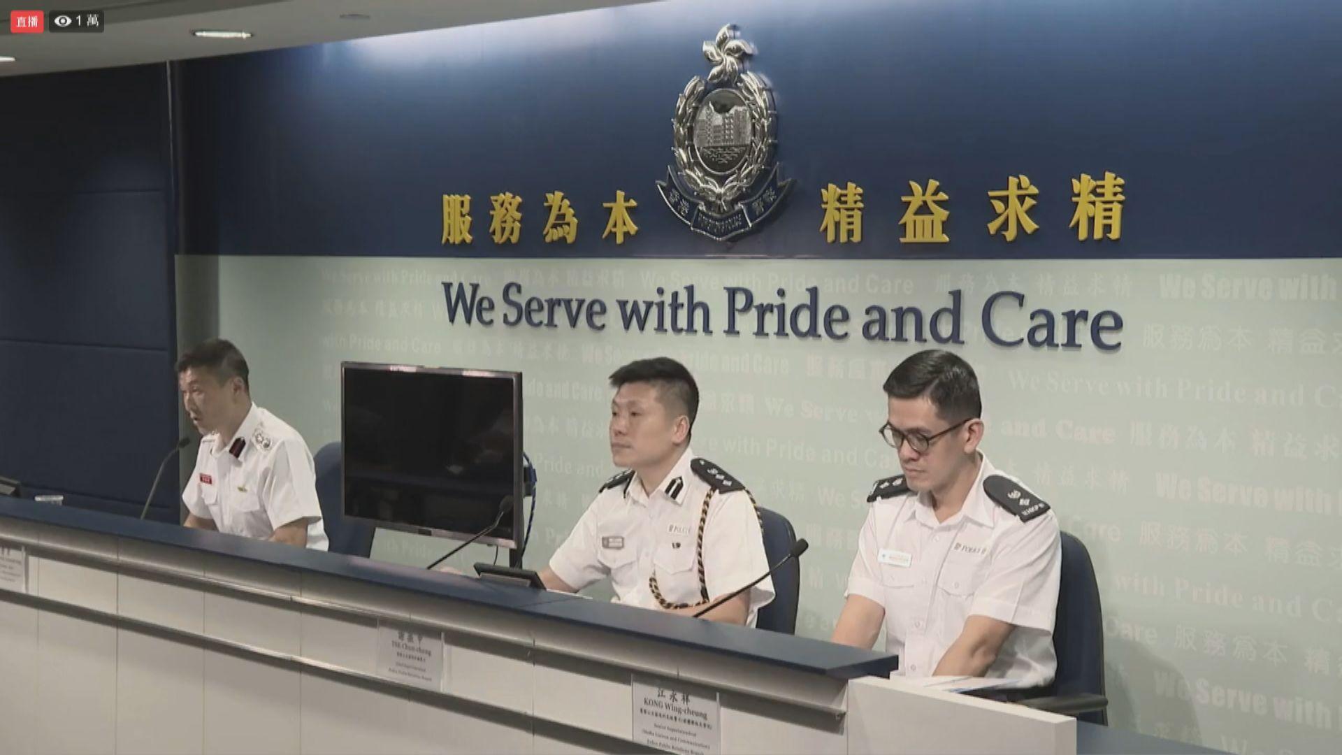 警方周五至周日共拘325人