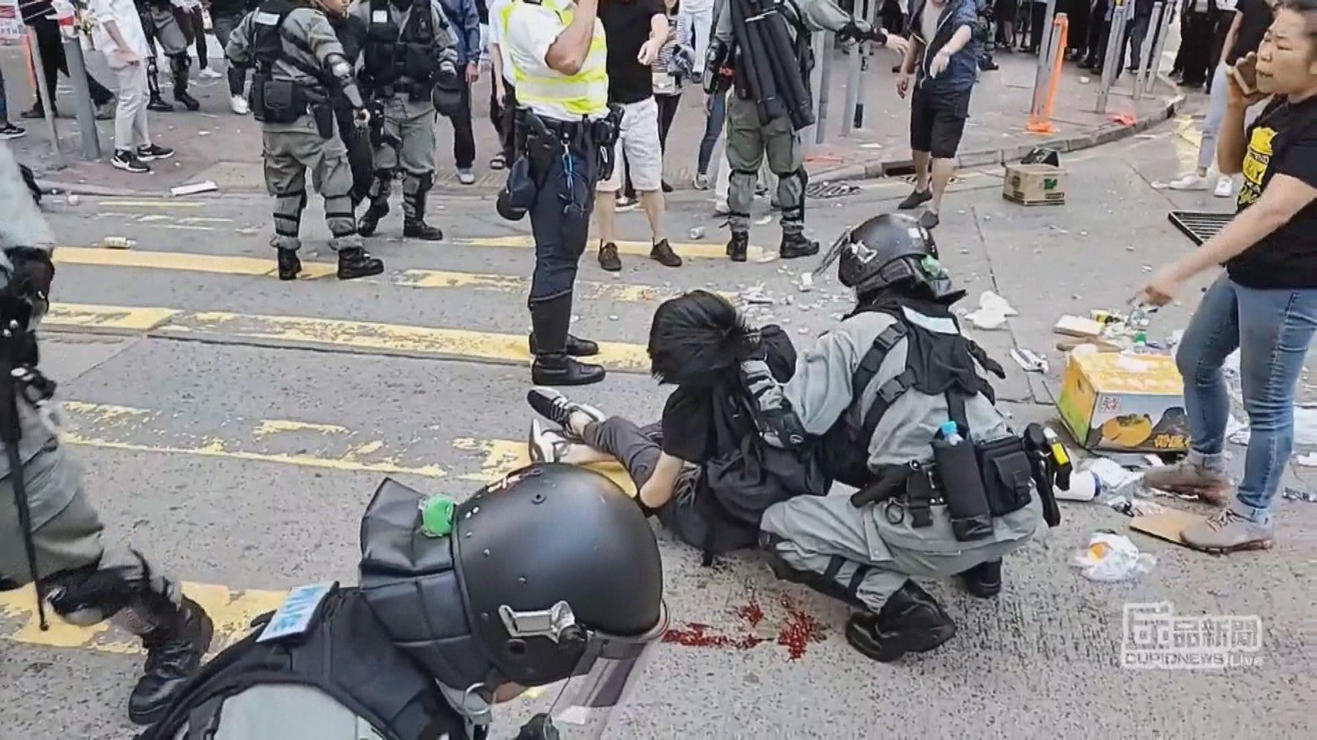 示威者被槍傷 警稱移動傷者警員不知其受傷