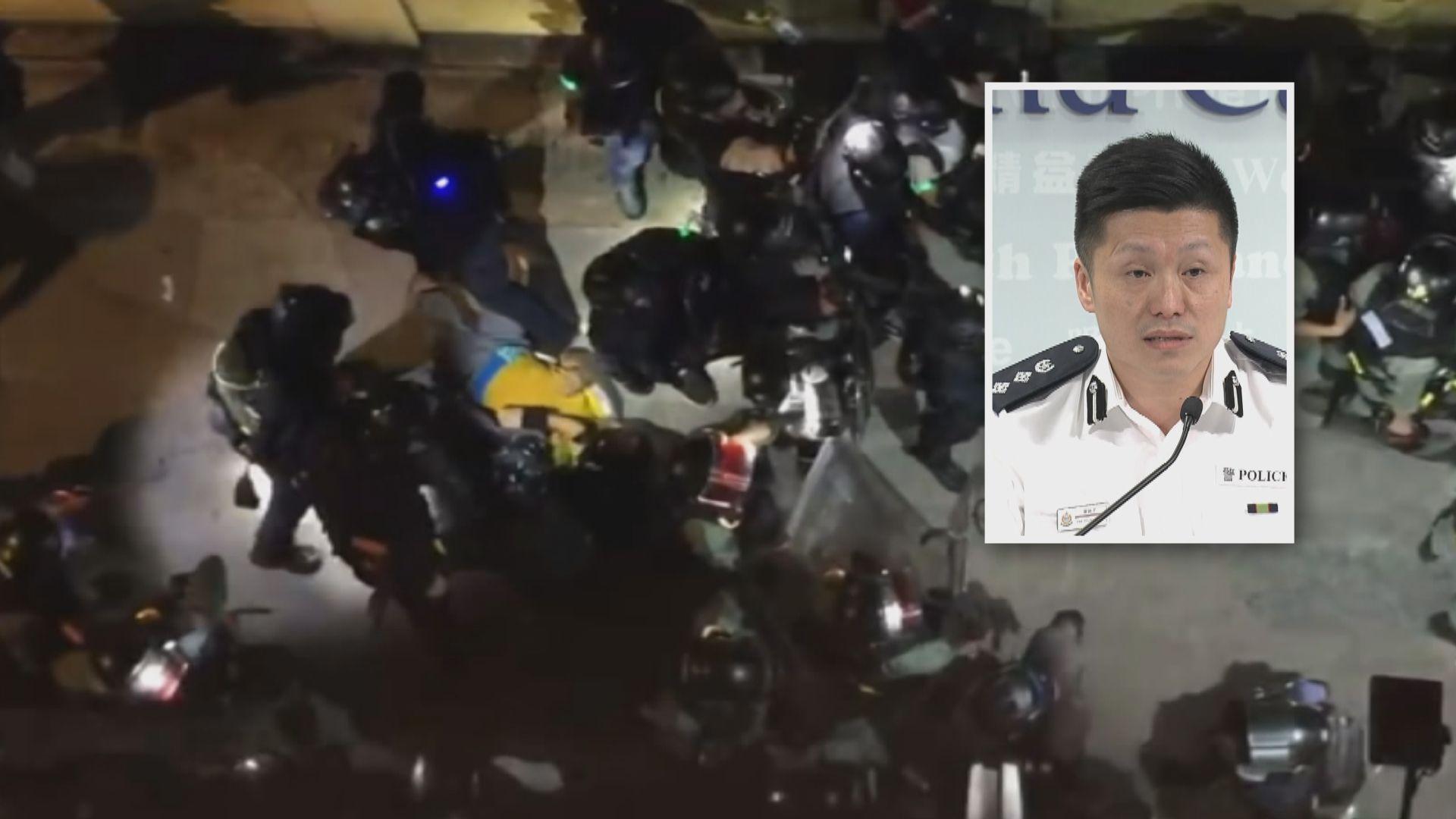 警方指暫沒證據顯示上周六警員腳踢被捕人士