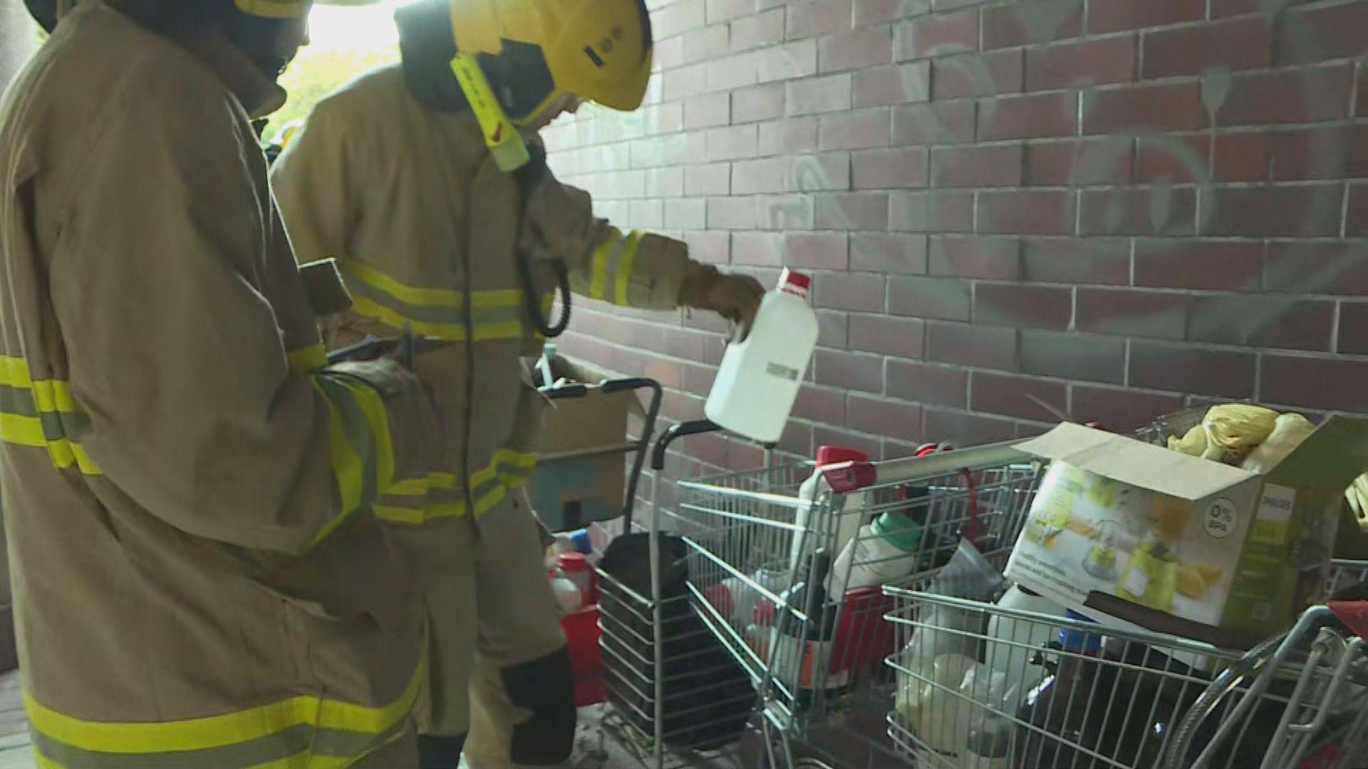 警安全小組及消防進理大處理危險品及蒐證