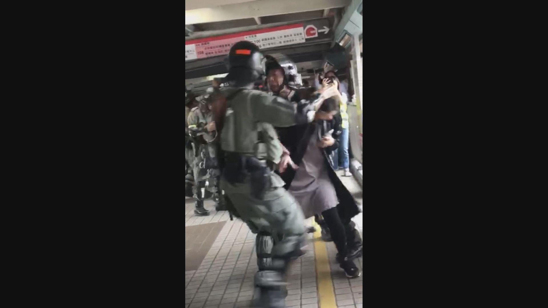 理大外女子指罵警員 遭正面噴胡椒噴劑被捕