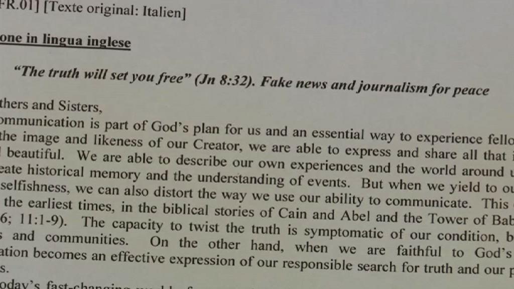 教宗批評假新聞傳播傲慢仇恨