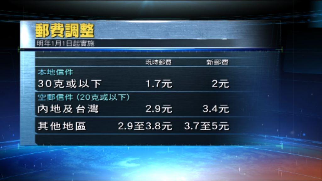 香港郵政明年起調整郵費