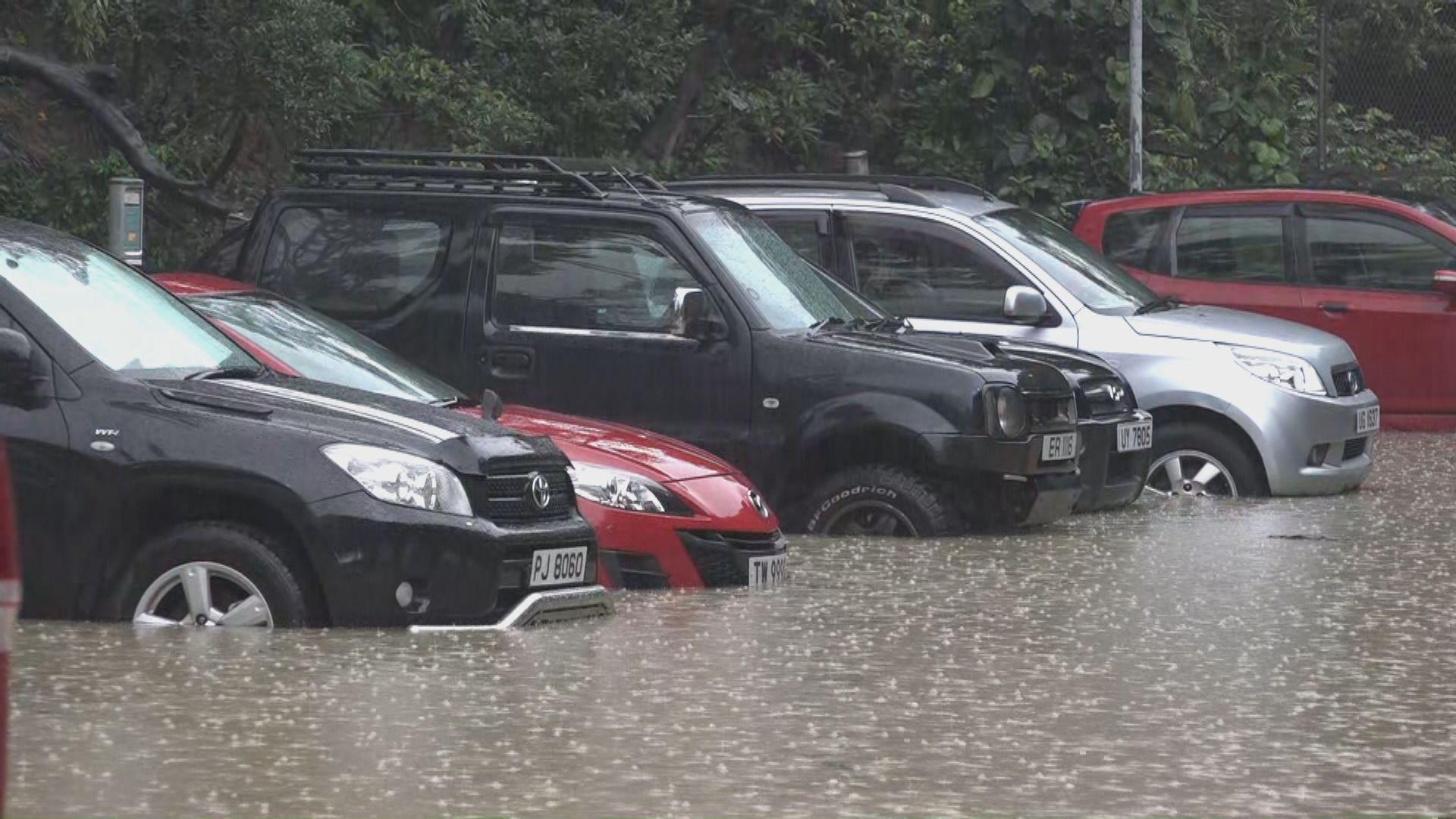天文台今早發紅雨警告 沙田有停車場水浸