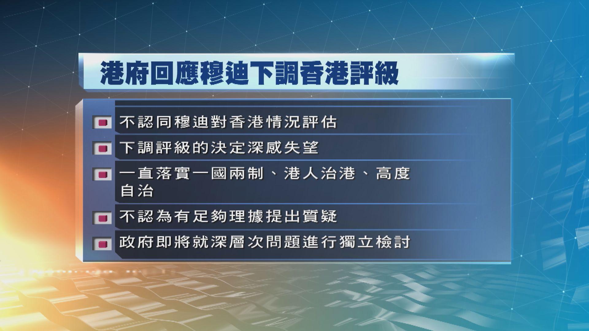 政府對穆迪下調香港評級決定感失望
