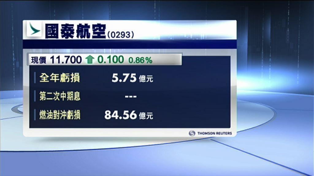 【業績速報】國泰去年蝕5.7億遜預期