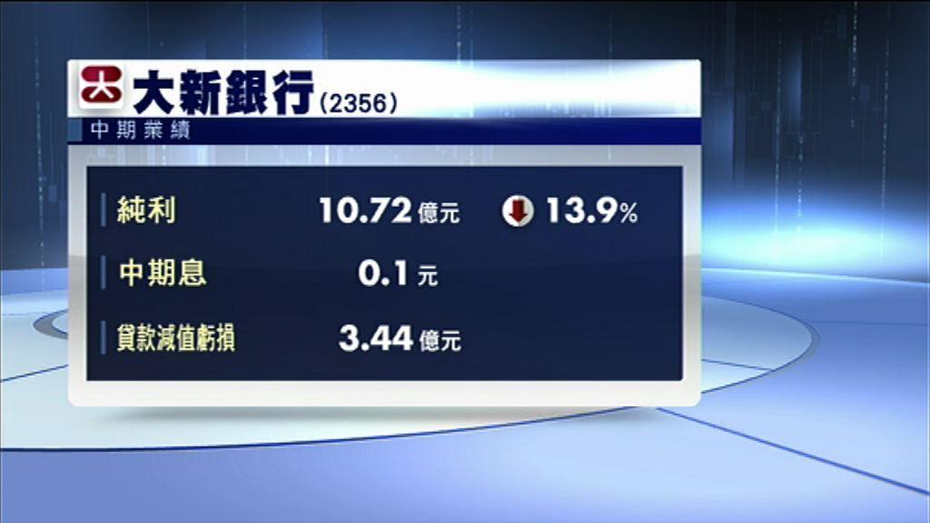 【業績速報】大新銀行少賺14% 息0.1元