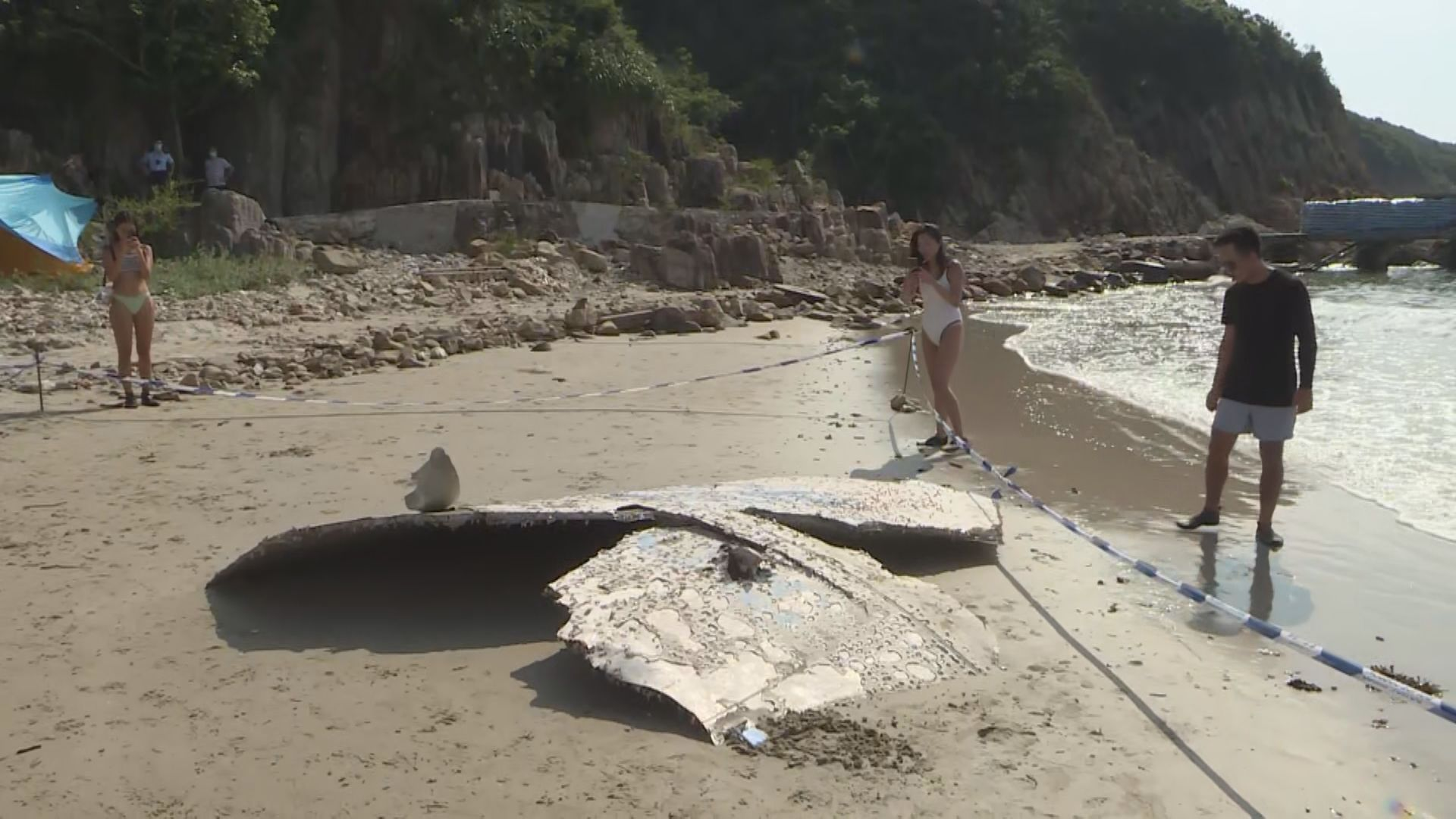 白腊灣發現懷疑火箭碎片 附近出入市民感好奇