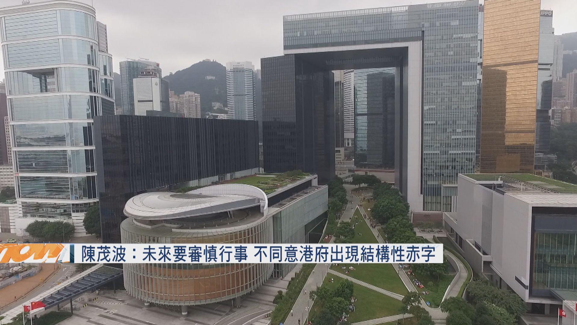 陳茂波:未來要審慎行事 不同意港府出現結構性赤字