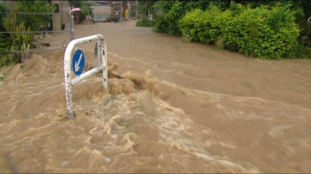 大美督黃雨水浸 渠務署考慮鞏固河堤