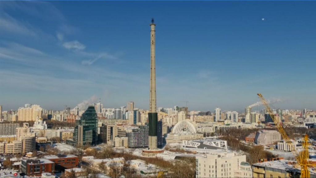俄羅斯以爆破方式拆卸廢棄電視塔
