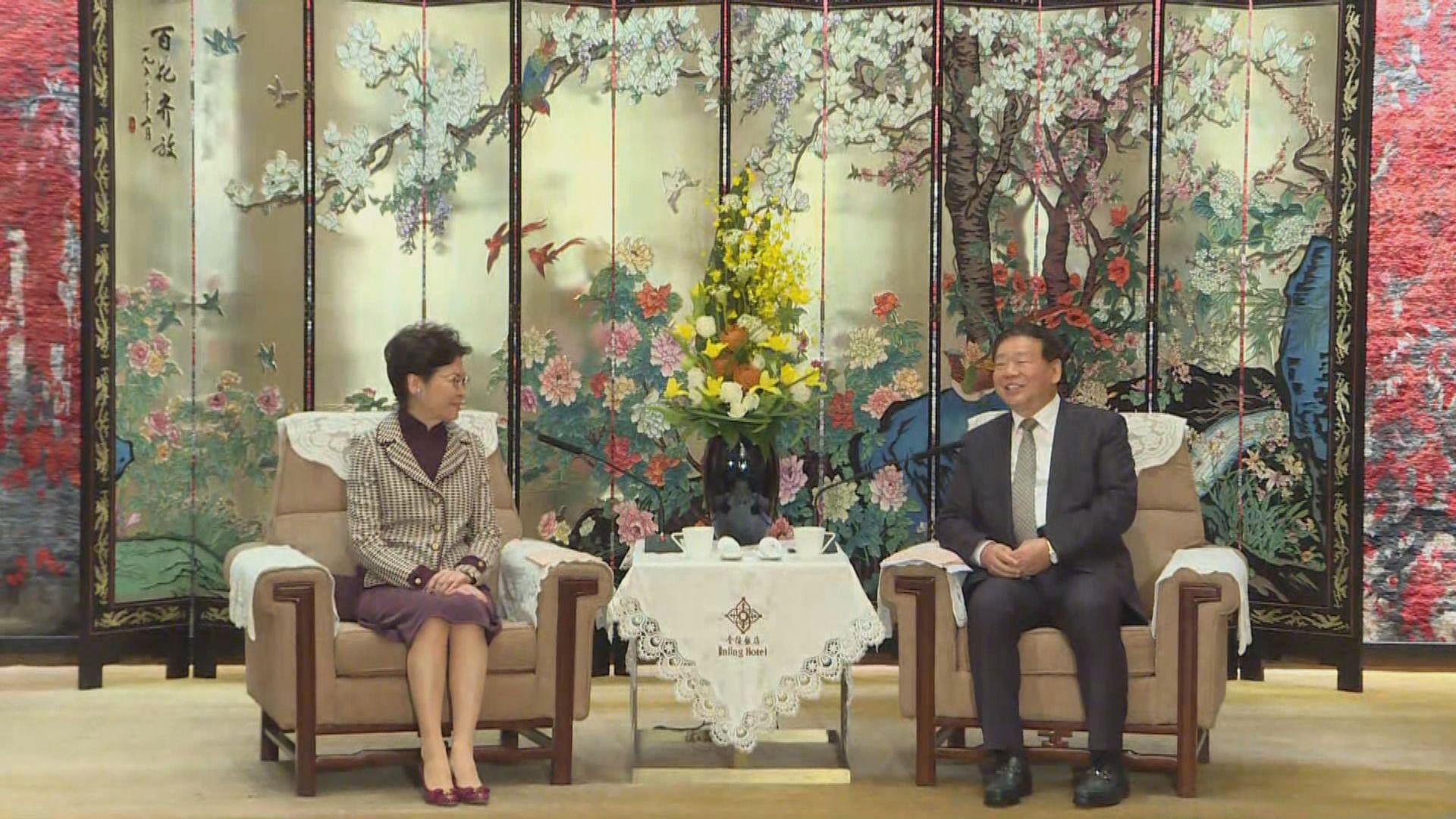 林鄭月娥在南京與江蘇省委書記會面