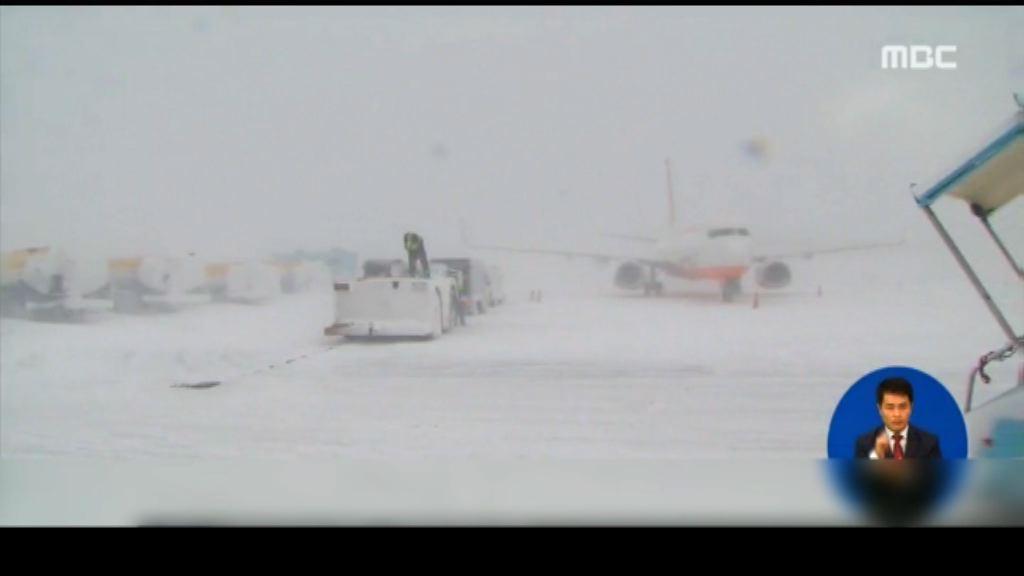 南韓受寒潮侵襲濟州機場停航
