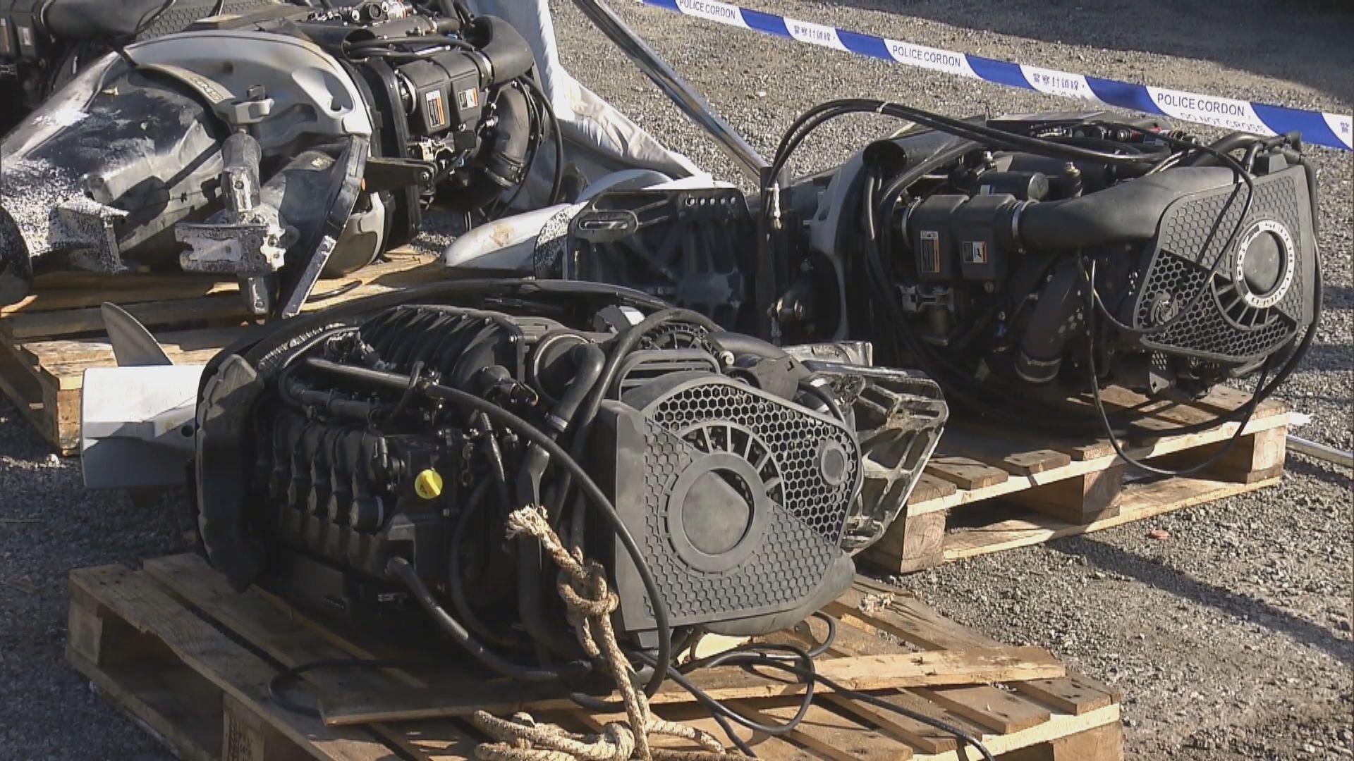 警方東涌露天停車場搜獲七艘走私快艇 疑逃避追捕搬到陸上