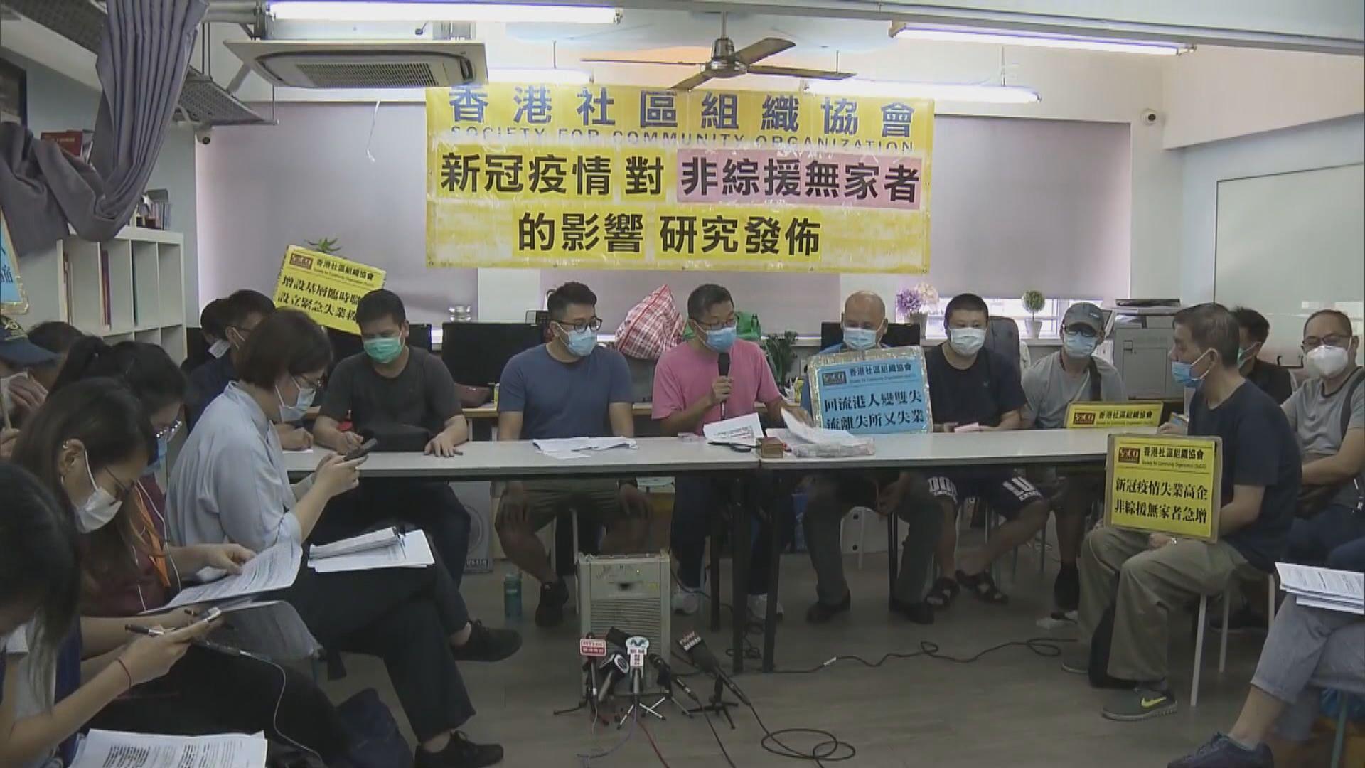 社區組織協會:無家者疫情下失業 促政府設失業援助金