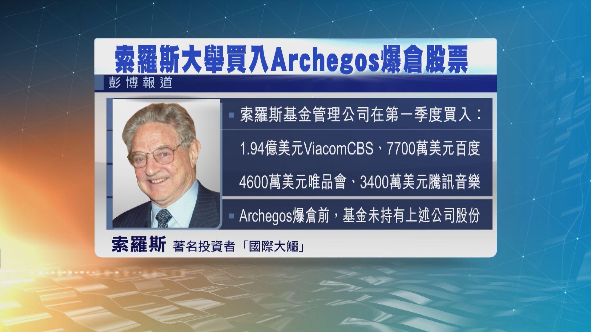索羅斯大舉買入美國對沖基金Archegos爆倉股票