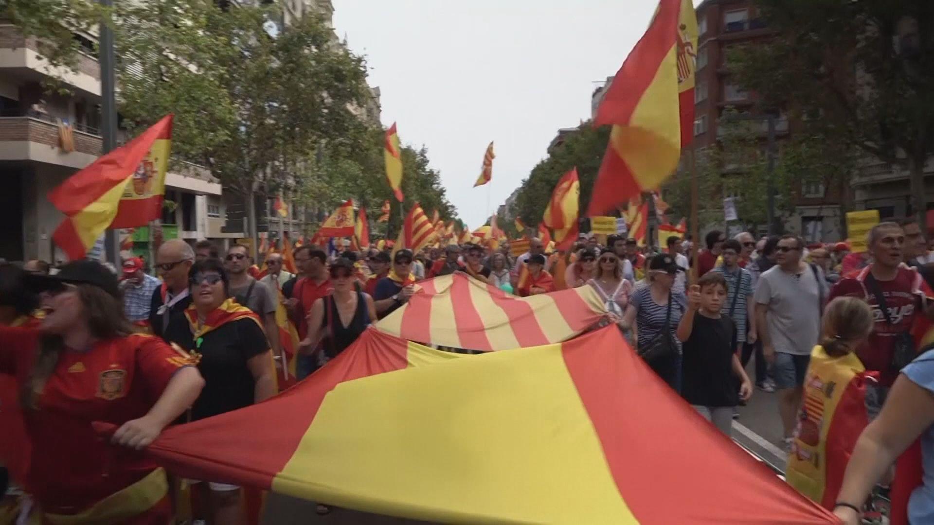 西班牙有反對及支持加泰獨立示威