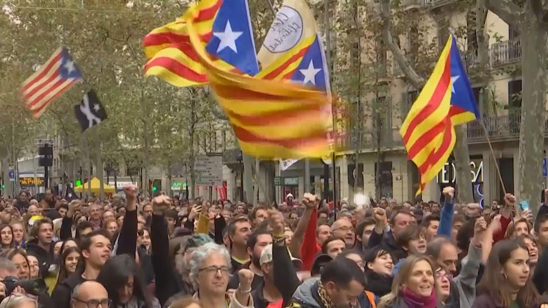 西班牙大選前夕有支持加泰獨立示威