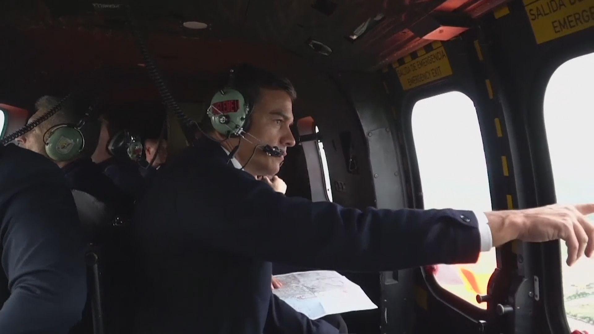 西班牙看守首相桑切斯視察水災災情