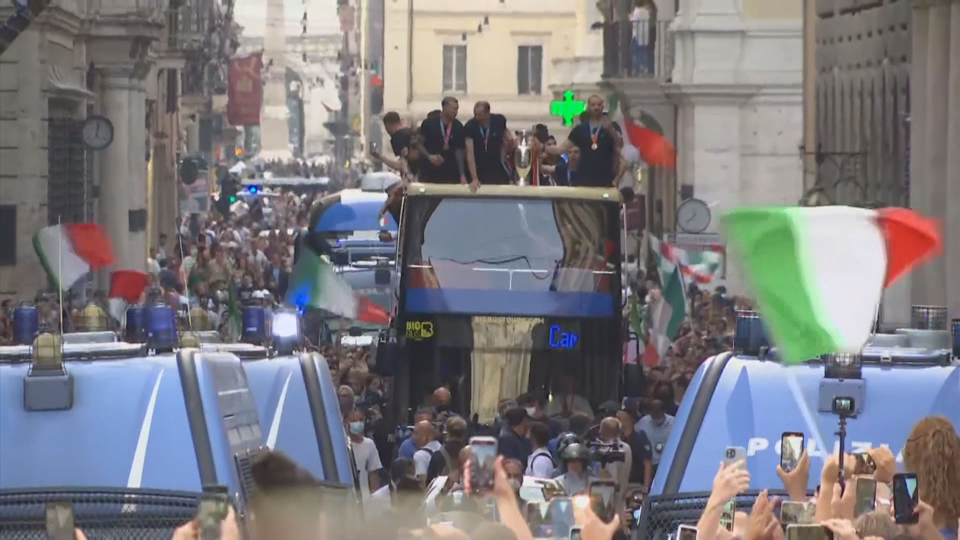 歐國盃盟主意大利羅馬舉行勝利巡遊 獲總統及總理接見