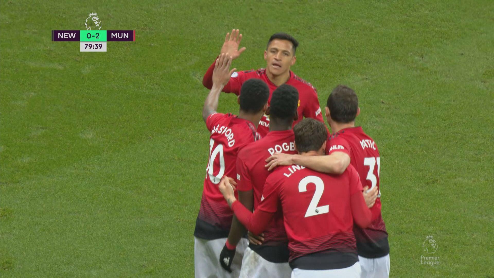英超 紐卡素0:2曼聯